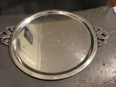 "688 Grams - 11"" Tiffany Sterling Silver Round Tray Platter server Art Deco Rare"