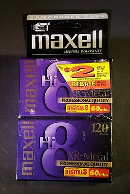 Maxell XR-Metal Professional Hi8 8mm Camcorder Videotape P6-120 Pack of 2 New