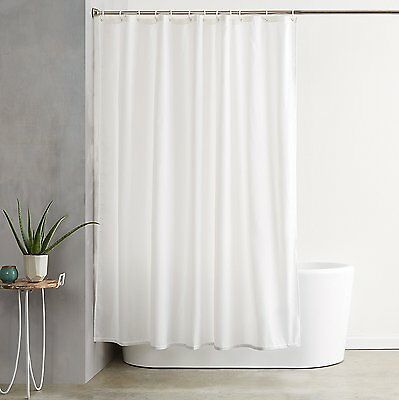 Pure White Waterproof Fabric Shower Curtain Bathroom Drapes Panel with 12 Hooks