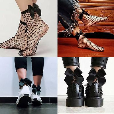 Women and Girl Ruffle Fishnet Ankle High Socks Bow Mesh Lace Fish Net Socks