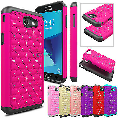 newest b1ad1 e28bb FOR SAMSUNG GALAXY J7 Prime/J7 V/J7 Sky Pro Case Hybrid Bling Armor Phone  Cover