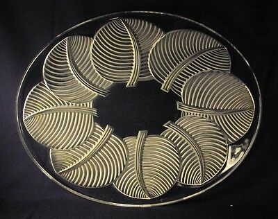 Verlys Glass platter Les Feuilles d'Avesn pattern 1938 French Art Glass
