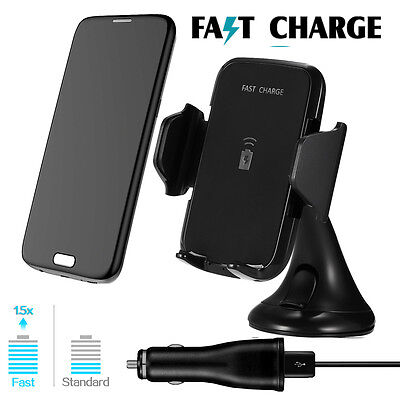 Qi Wireless Car Holder Cradle Mount Charger For Samsung Galaxy S6/S7 Edge S8+