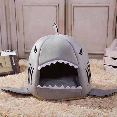 Cute Shark  House Mouth Pet Dog Cat Bed Doggy Puppy Warm Bed Kennel Cushion Pad