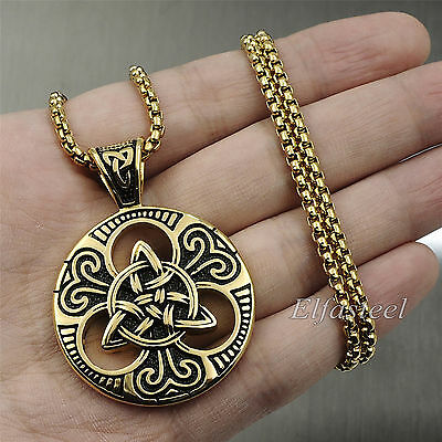 Men's Large Gold Celtic knot Magic Both Sided Solid 316L Stainless Steel Pendant