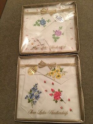 Vintage Ladies Hankerchiefs Lot of 6 Embroidered Floral In Boxes
