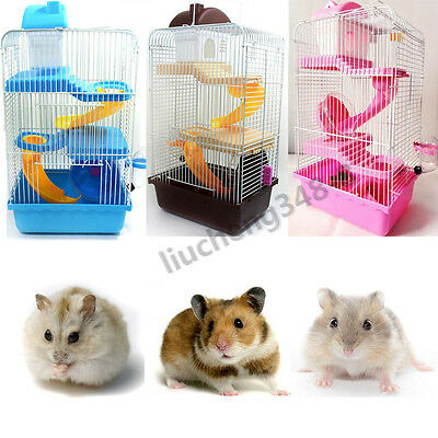 New 3 Tiers Gorgeous Small Animals Hamster Mouse Cage Small Castle Roller Slide