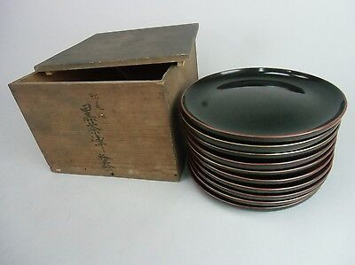 LWB11 Japanese Lacquer ware Plate 10 pieces set W/Wooden box Wood Vtg Urushi