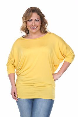 YELLOW Womens PLUS SIZE LOOSE FIT TOPS TUNIC 3/4 Sleeve T-Shirt BLOUSE 1X 2X 3X