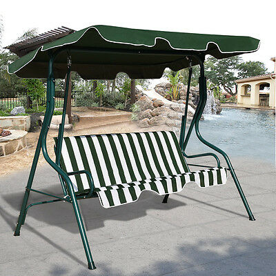 Garden Swing Chair Patio 3 Seater Metal Hammock Swinging Canopy Bench Lounger