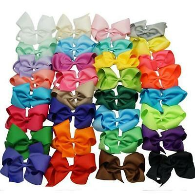 32 Pcs 6 Inch Large Grosgrain Knot Hair Bow With Clip for Girls/Toddlers