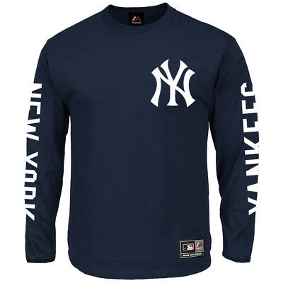New York Yankees Majestic MLB Mavern Long Sleeve T-Shirt - Navy