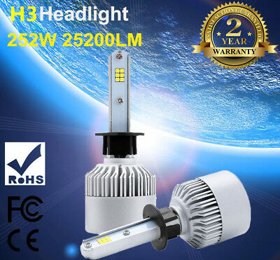 25200LM 252W H1 LED Headlight Bulbs PHILIPS Lamp Conversion Kit 6500K Canbus 2PC