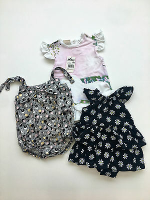 Baby Girl Clothing X3 Pieces Size 0-3 Mths  Seedkids ,milky