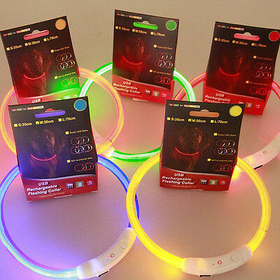 USB Rechargeable Pet Collar LED Light Band Waterproof Dog Safety Belt Exotic #ag