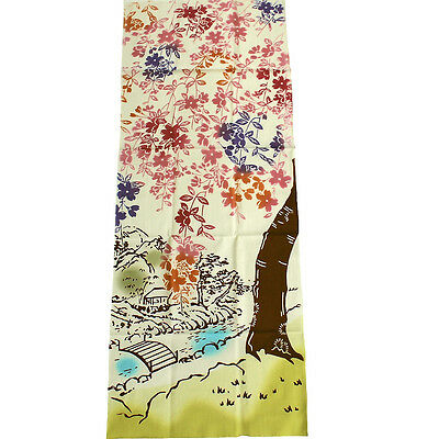 "Japanese Traditional Handkerchief ""Tenugui"" with Weeping Cherry Blossom Design"
