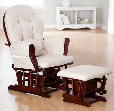 Nursery Rocker Glider Rocking Chair with Ottoman Nursing Baby Furniture 2 Pc Set