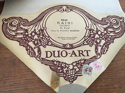 VINTAGE DUO-ART PIANOLA ROLL - RAIN ! FOX TROT E FORD By HARVEY MADDON 0849