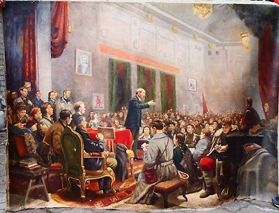 BIG Soviet painting, oil on canvas by V. LENIN - 3 Congress of the Bolsheviks.