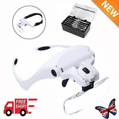 5 Lenses Headband Magnifier Magnifying Glass Loupe Hands Head Lamp 2 LED Lights