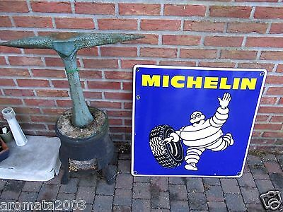 Vintage enamel porcelain sign MICHELIN tires BIBENDUM  Rare export version! 1975
