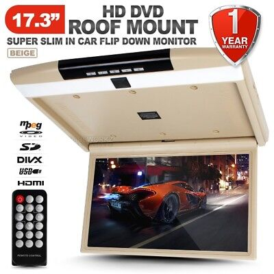 """17.3"""" HD Roof Mount Overhead Flip Down Monitor DVD Player TFT LCD SD HDMI USB"""