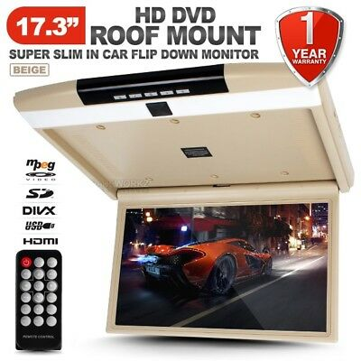 "NEW 17.3"" HD TFT LCD SD HDMI USB Beige Roof Mount Overhead DVD Flip Down Monitor"
