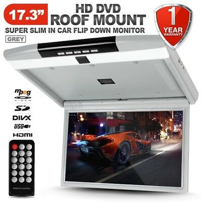 """17.3"""" HD TFT LCD SD HDMI USB Roof Mount Overhead Flip Down Monitor DVD Player"""