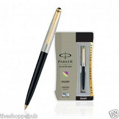 Personalised Engraved Parker Galaxy Standard GT Ball Pen - GoldTrim Black Body F