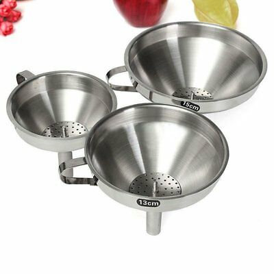 Kitchen Stainless Steel Pouring Funnel With Detachable Strainer Canning Filter