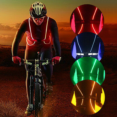 LED Reflective Vest Outdoor Bicycle Safety Visibility Gear Adjustable Stripes