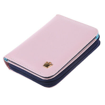 Women Card Money Holder Wallet Pu Leather Purse Bag (Pink) A6Y4