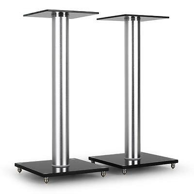 Black Glass Aluminium Hifi Speaker System Stands 58Cm