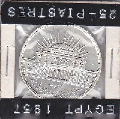 1957 Egypt 25 Piastres, National Assembly Inauguration Coin Km# 389 Unc.