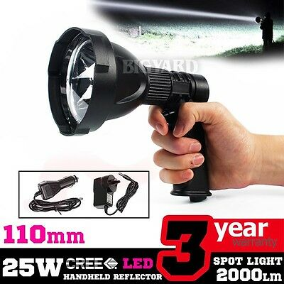 NEW 25W CREE 12V Handheld Rechargeable Torchlight LED Spotlight Hunting Shooting