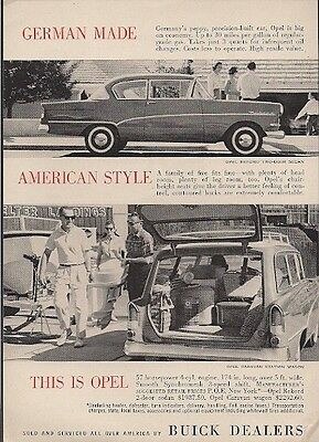 Opel Sold Serviced by Buick Dealers German Made American Style Vintage Ad 1960