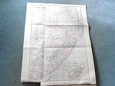 1901 Original Antique Colour Map of SOUTHERN SOUTH AFRICA by Philip & Son