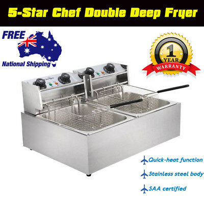 Electric Commercial Chef Cooker Deep Fryer Kitchen Chip Frying Double Basket AU