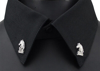 NEW 1 Pair Set Horse Collar Suit Clip Silver Shirt Pin Stud Jewelry Brooch Gift