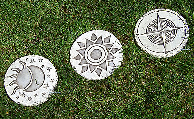 Garden Stepping Stone Plaque 3 different Ornament Circle Styles New Patio Design