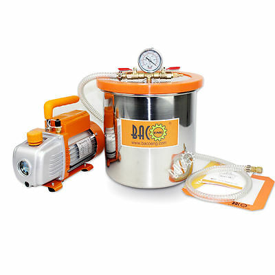 BACOENG 3.0 Gallon Vacuum Chamber Kit with 2.5 CFM Single Stage Vacuum Pump HVAC