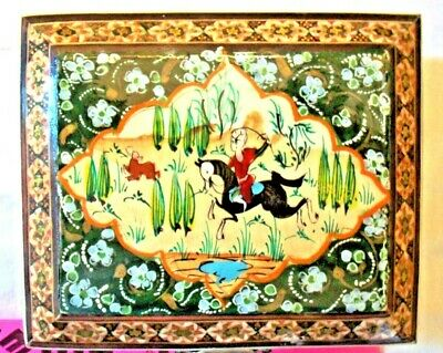 Persian art, Marquetry Inlaid Mosaic Hand Painted Wood Jeweley Box Hunt Scene