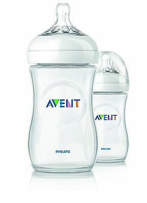 2 X Philips Avent Natural Feeding Bottles 260ml / 9oz BPA FREE Clear - PACK OF 2