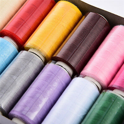 12 Assorted Colors 400 Yards Each Polyester Spool Sewing Thread for Machine