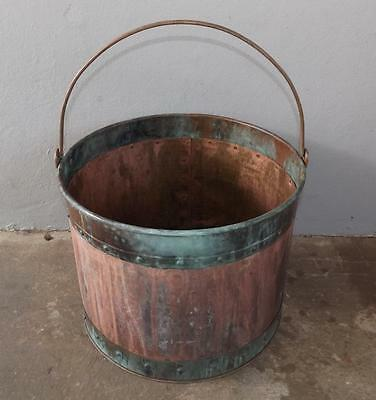 Large Vintage Copper Brass Bucket Planter Planter Coal Pale Handle Patina