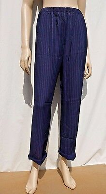 Vintage 1990s Navy Blue Pinstripe High Waisted Summer Trousers S 8-10