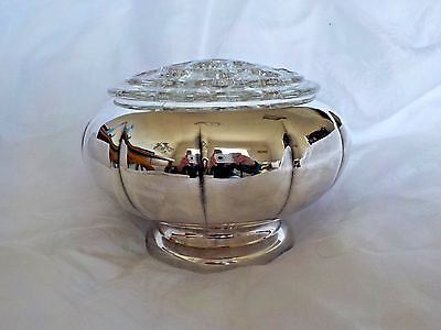 Marlboro 311 Vintage Large Rose Bowl Silver Plated On Copper Complete & Glass