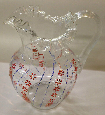 Antique Pitcher Hand Painted Blue and Red Flowers Enamel Hand Blown        8-643