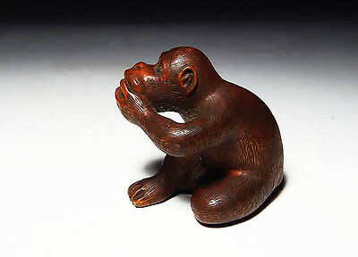 Netsuke Persimmon and monkey  Free shipping Japan Antique Vintage 170425