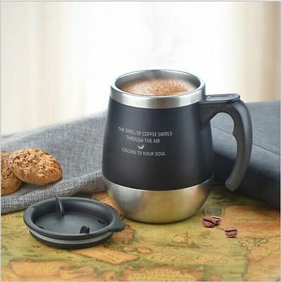 Tumblers Coffee Mugs Double Wall Stainless Steel Travel Mug Cup with Handle 15oz